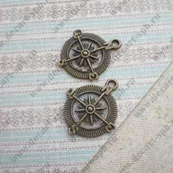 "Подвеска ""компас"" 25мм Nickel&LeadFree цвет - бронза"