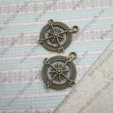 "Подвеска ""компас"" 25мм Nickel&LeadFree бронза"