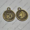 "Подвеска ""монета""15х18мм бронза"