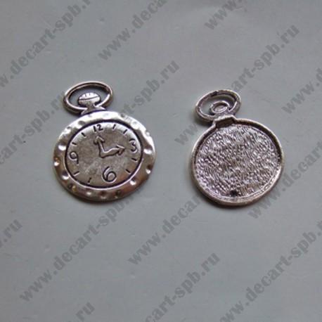 "Подвеска ""часы будильник"" 27х32мм ант серебро"