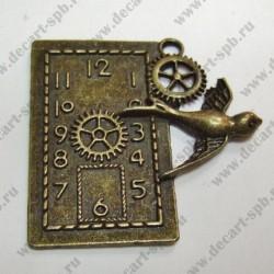"""Подвеска """"Часы с ласточкой"""" 41х39мм бронза"""