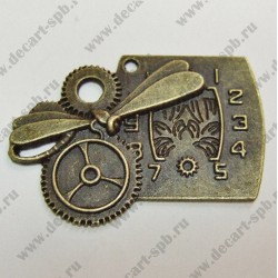 "Подвеска ""Часы со стрекозой"" 47х34мм бронза"