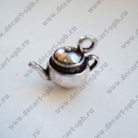 """Подвеска """"чайник"""" 3D 18х13мм ант серебро"""