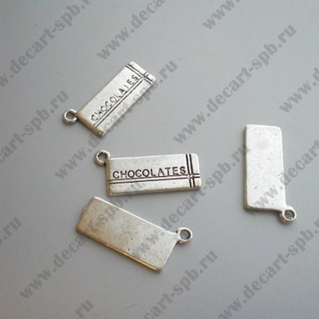 """Подвеска """"шоколад"""" 20х8мм ант серебро"""
