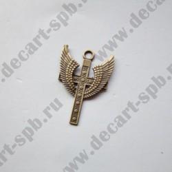 """Подвеска """"крест с крыльями """" 39х28мм бронза"""