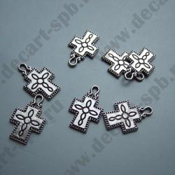 "Подвеска ""крест с рисунком"" 24х15мм ант серебро"