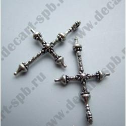 """Подвеска """"крест цветок"""" 46х29мм ант серебро"""