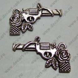 "Подвеска ""пистолет с розой "" 33х16мм ант.серебро"