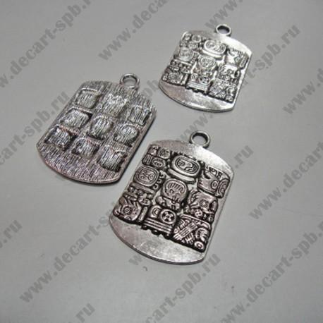"""Подвеска """"письменность майя"""" жетон 28х44 мм ант.серебро"""