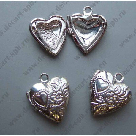 """Подвеска """"сердце"""" медальон открывается серебро 12х14 мм"""