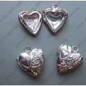 """Подвеска """"сердце"""" медальон открывается, цвет -  серебро 12х14 мм"""