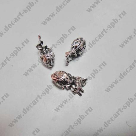 """Подвеска """"сердце"""" объемные 27х13мм античное серебро"""