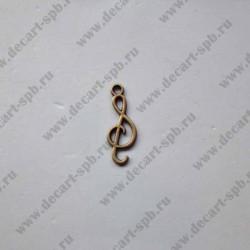 """Подвеска """"скрипичный ключ"""" 26х9мм бронза"""