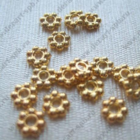 Разделитель для бус (цветочек, золото) 5мм 10шт