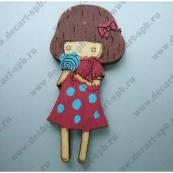 Деревянная девочка в платьице 3х5,8 см микс