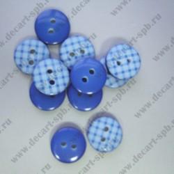 Пуговица синяя клетка 11мм на 2 прокола