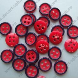 Пуговица красная с синим ободком 8 мм