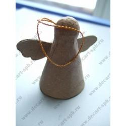 Фигурка из папье-маше объемная ангелочек подвес 3,5х6,5 см