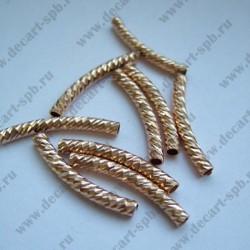 Трубочка с насечкой 25мм золото