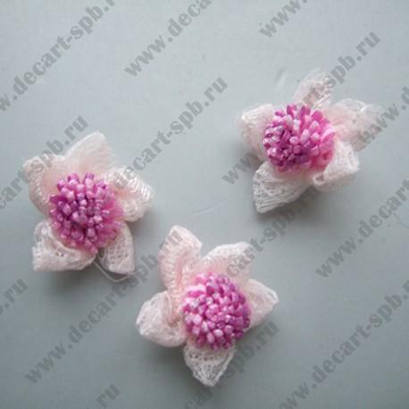 Цветы пришивные Floranta бежевые 18 мм