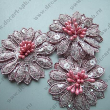 Цветы пришивные розовые с пайетками 50мм