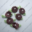 Цветы пришивные коричневые 12мм с зеленью 2 мм