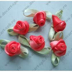 Цветы пришивные Роза Cassiope красная зеленью 2 см
