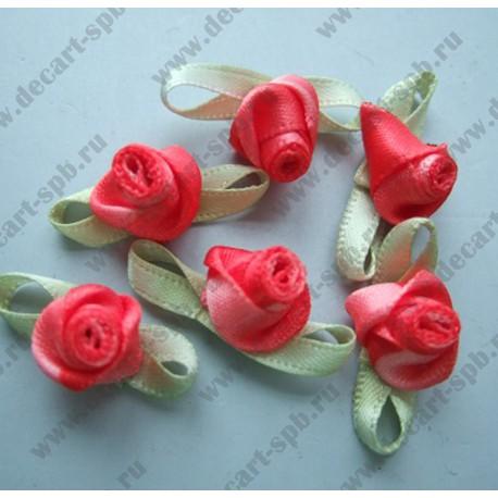 Цветы пришивные Роза Cassiope красеая зеленью 2 см
