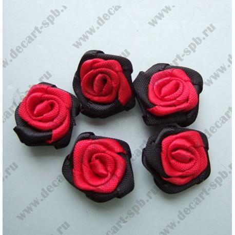 Цветы пришивные Роза черно-красная 1,5 см