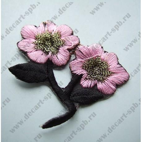 Цветы пришивные розовые с черным 40х55 мм