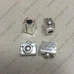 Бусина в стиле Пандора Фотоаппарат 12mm x 10mm отверстие 4mm цвет ант серебро