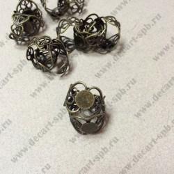 Основа для кольца филигрань с площадкой цвет ант бронза