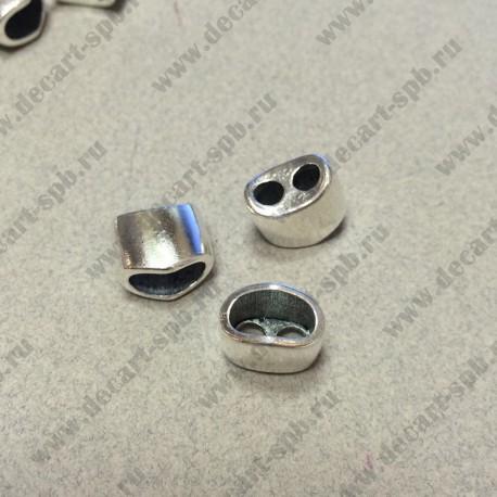 Концевик на 2 шнура 3.8мм 13 x 11мм цвет ант серебро
