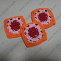 Вязанные квадраты с цветами, ажурные 60*60мм