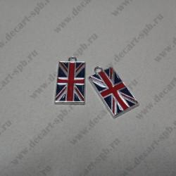 """Подвеска """"британский флаг"""", металл, 31*15 мм, цвет античное серебро"""