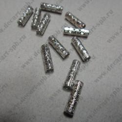 Бусины-разделитель, ажурная 12*4 мм, серебро, металл