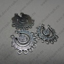 """Коннектор """" кружение"""", 28*28 мм, цвет ант серебро"""