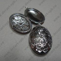 Подвеска-медальон открывающаяся резная 37х27мм цвет серебро