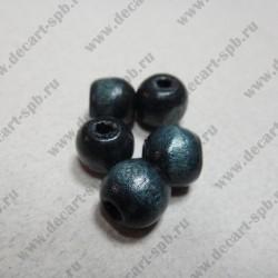 Бусина деревянная 10 мм чёрно-синяя