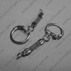 Кольцо металлическое для ключей и брелков 61*22 мм, цвет никель