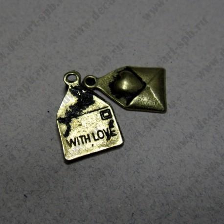"""Подвеска """" конверт с сердцем и надписью with love"""", цвет ант бронза,10*15 мм"""