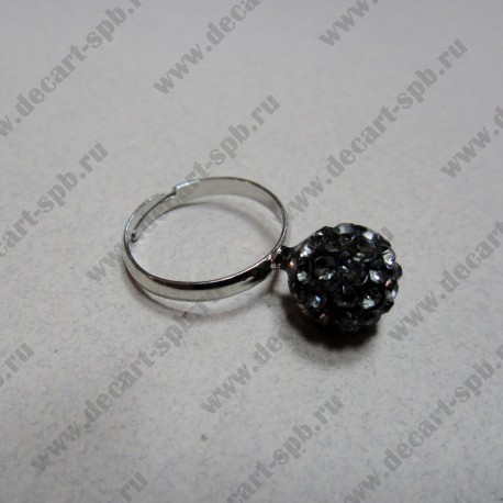 """Кольцо """" шамбала""""  цвет графит, диаметр сферы 10 мм, размер ригулируется"""