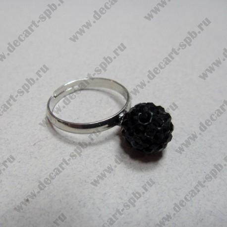 """Кольцо """" шамбала""""  цвет чёрный, диаметр сферы 10 мм, размер регулируется"""