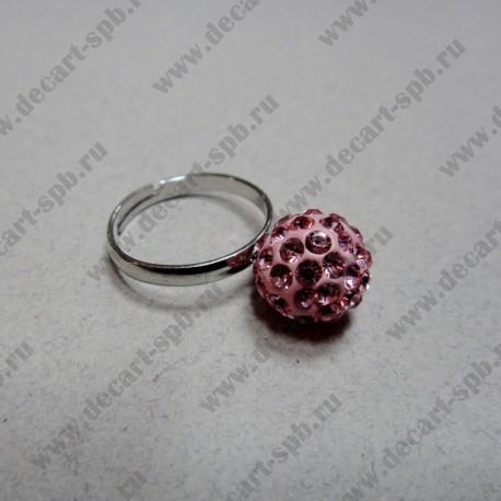 """Кольцо """" шамбала""""  цвет розовый, диаметр сферы 10 мм, размер регулируется"""