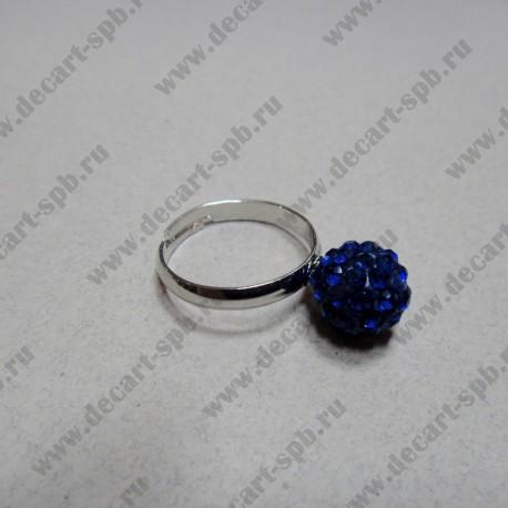 """Кольцо """" шамбала""""  цвет синий, диаметр сферы 10 мм, размер регулируется"""