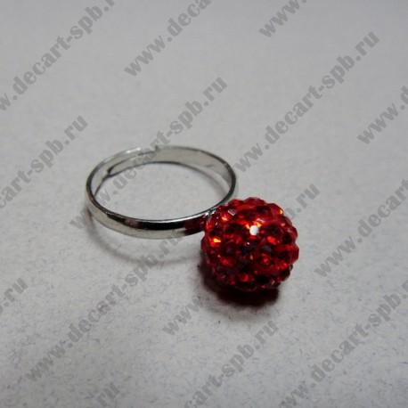 """Кольцо """" шамбала""""  цвет красный, диаметр сферы 10 мм, размер регулируется"""