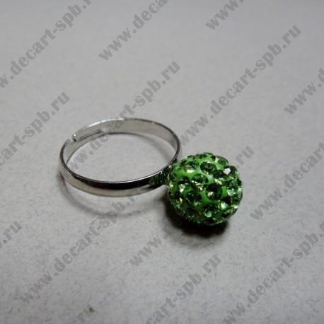 """Кольцо """" шамбала""""  цвет нежно-зелёный, диаметр сферы 10 мм, размер регулируется"""