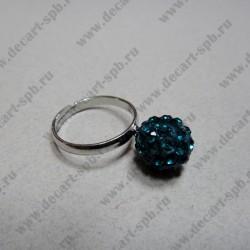 """Кольцо """" шамбала""""  цвет морской волны, диаметр сферы 10 мм, размер регулируется"""