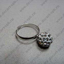 """Кольцо """" шамбала""""  цвет прозрачный, диаметр сферы 10 мм, размер регулируется"""