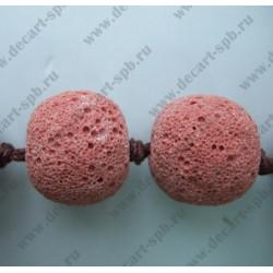 Бусина натуральный материал лава грязно-красный 15 мм